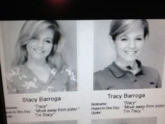 Identical twins in the yearbook. Haha!