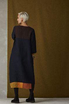 Boston Dress - Blue 2 Black Linen, Striped Linen, Frock Fashion, Women's Fashion, Dress Name, Textiles, Pinterest Fashion, Linen Dresses, Mode Inspiration