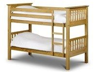 Julian Bowen Barcelona Bunk Bed 3 Single Solid pine construction bunk bed built and tested to British standards. This strong and sturdy bunk bed would be perfect for and childs bedroom. Mattresses for this frame need to be 8 deep or under.  http://www.comparestoreprices.co.uk/bunk-beds/julian-bowen-barcelona-bunk-bed-3-single.asp