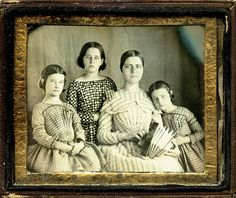 1/4 Plate daguerreotype ca 1848. Left to right Mary, Frances, Sarah and Julia Emmons.