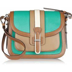 Michael Kors Gia Saddle color-block leather shoulder bag ($1,115) ❤ liked on Polyvore