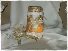 Vasetto in vetro portacandela in stile Romantic Chic