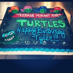 Ninja turtles sheet cake
