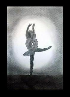 Pasos de ballet II - Lápiz carbón - 24x35
