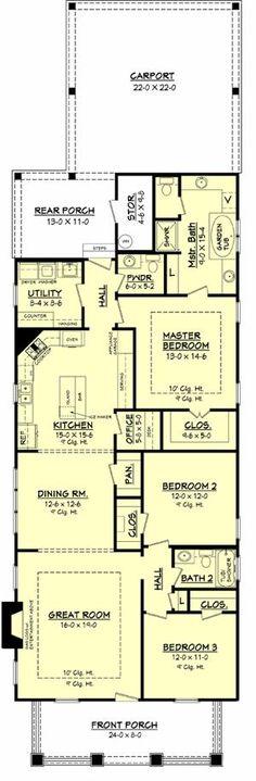 1800 square ft. 3 bed 2.5 bath. Floor plan. Narrow lot.
