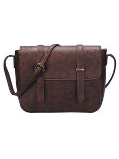 Brown Magnetic Buckle PU Satchel Bag                                                                                                                                                                                 More