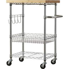 Dotted Line™ Enos Kitchen Cart with Solid Wood Top & Reviews | Wayfair Stainless Steel Kitchen Cart, Stainless Steel Counters, Kitchen Island Alternatives, New Kitchen, Kitchen Dining, Kitchen Reno, Kitchen Stuff, Kitchen Ideas, Towel Rod