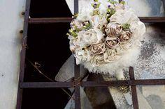 wedding bouquet using old wedding dress fabric ... another keepsake idea for my girls