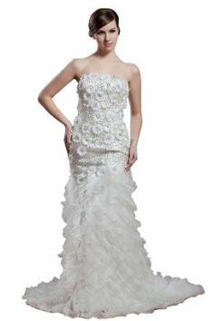 herafa Mermaid Long Dress Rows of Lace w35879