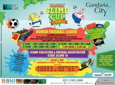 """HUMAN FOOSBALL LEAGUE @ LG Floor (in front of Sushi Ya) Categories: Kids (8-12 years old) & Teens (13-17 years old) Collect 1 stamp* to register 1 team (5 people) (register without stamp collection for BNI Cardholders) Win 5 PS VITA for 1 winning team from Kids Category or 5 UNIVERSAL STUDIO PACKAGE for 1 winning team from Teens Category  FREE* Meet n Greet with """"SpongeBob & Patrick"""" and """"Raphael & Michelangelo"""" 12 - 22 June 2014 @ Main Atrium Gandaria City by collecting 6 stamps"""