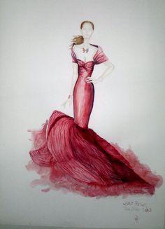Zac Posen design illustration with watercolor