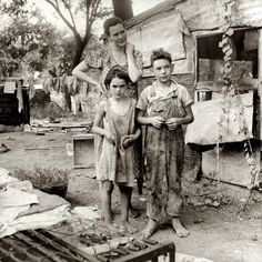 """August 1936. """"People living in miserable poverty. Elm Grove, Oklahoma County, Oklahoma."""""""