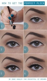 this is exactly how I do my eyeliner. its the only way I wear it much easier than some think. Fill in a base line close to lashline, do inner corner, then (step 4) give a little wing at Outer corner connect fill line (step 5). Easy! Curl lashes and apply mascara in Up Outward sweeps, towards your hairline.