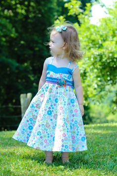Sabina Girls Twirly Blue Floral Summer Dress with Spaghetti Straps – Carousel Wear