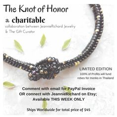 : the knot of honor - a charitable collaboration Collaboration, Knots, Beaded Bracelets, Etsy, Jewelry, Jewlery, Bijoux, Knot, Pearl Bracelets