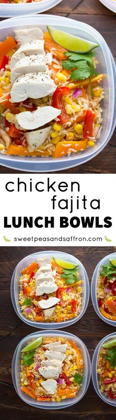 Chicken Fajita Lunch Bowls (Make Ahead). Make this recipe on Sunday and have all of your work lunches ready for the week! Chicken Fajita Lunch Bowls (Make Ahead). Make this recipe on Sunday and have all of your work lunches ready for the week! Healthy Meal Prep, Healthy Eating, Healthy Recipes, Detox Recipes, Weekly Lunch Meal Prep, Healthy Work Lunches, Easy School Lunches, Healthy Food, Healthy Lunches For Work