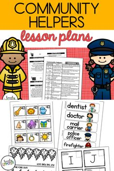 Learn all about 5 different helpers in our community: Police Officer, Firefighter, Mail Carrier, Dentist and Doctor!  In this one lesson plan pack, get 2 weeks worth of lesson plans to help you dig deeper into the theme. You also get a Center's Guide and ideas/materials needed to incorporate the theme into classroom centers to help young children learn the way they were created to learn- through play! Preschool Lesson Plans, Preschool Math, Learning Activities, Kids Learning, Community Helpers Lesson Plan, Early Reading, Thematic Units, Early Literacy, Learning Through Play
