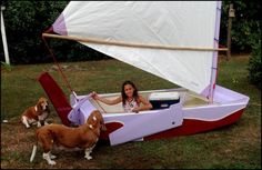 Land sailor and dogs checking out her grandfather's work. Not sure who he really built it for...
