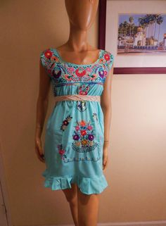 Mexican Dress embroidered dress womens handmade by stilettoRANCH