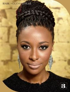 Gorgeous updo for braids or locs. To learn how to grow your hair longer click here - blackhair.cc/1jSY2ux