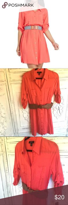 NWT.  BCX Coral 3 Quarter Sleeve Belted Shirtdress NWT amazing find! Be on point with this coral shirtdress. This dress is soft and comfortable, is thick enough to wear alone or with tank. Belt is included. From shoulder to hem is 34in. BCX Dresses Mini