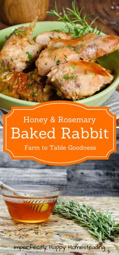 Baked Rabbit Recipe with Rosemary and Honey - Easy to Make Easy to Make Honey Rosemary Baked Rabbit Recipe. Farm to table recipe perfect for those raising meat rabbits. Wild Game Recipes, Meat Recipes, Real Food Recipes, Dinner Recipes, Cooking Recipes, Healthy Recipes, Chicken Recipes, Rice Recipes, Breakfast Recipes