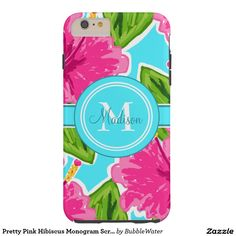 Pretty Pink Hibiscus Monogram Script Name Tough iPhone 6 Plus Case