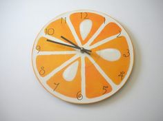SLICE hand painted kitchen recycled wall clock - by BearlyArtDesigns, Westfield, Massachusetts Perfect office clock for a dietitian!Perfect office clock for a dietitian! Clock Painting, House Painting, Orange Clocks, Record Clock, Clock Wall, Orange Kitchen, Green Home Decor, Art Courses, Kitchen Paint