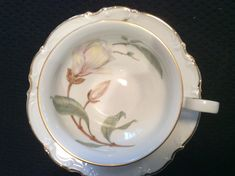 Vintage Teacup - Hutschenreuther Selb Bavaria China - Pattern:  Sylvia Magnolia