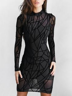 Sexy Geo Pattern Mesh Back Zipper Bodycon Dress