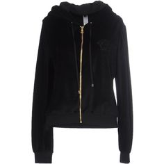 Versace Sweatshirt (26.720 RUB) ❤ liked on Polyvore featuring tops, hoodies, sweatshirts, black, velvet sweatshirt, versace, velvet top, velvet long sleeve top and zip sweatshirt