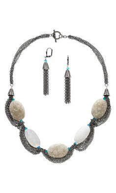 Multi-Strand Necklace and Earring Set with White and Brown Druzy Agate Gemstone Beads, SWAROVSKI ELEMENTS and Gunmetal-Finished Brass Chain - Fire Mountain Gems and Beads