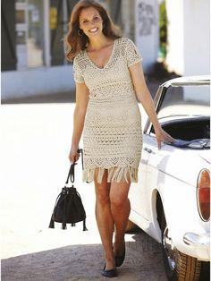 crochelinhasagulhas: Vestido bege em crochê