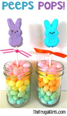 So... you know how much I love Peeps, right?!? ;) But don't forget the Peeps Pops... in a jar ~ they're an Easter party must-have!