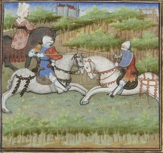 Knights jousting and a lady riding sidesaddle, seen from behind. From Guiron le Courtois, c. 1420 (Paris). BNF Français 356, fol. 249v. Bibliothèque nationale, Paris.