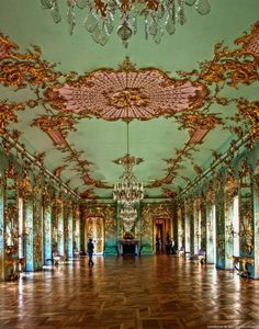 French Rococo - Interior Gold Low Relief Chandelier floor to ceiling windows pastel - Charlottenburg Palace - Berlin, Germany Architecture Baroque, Beautiful Architecture, Versailles, Mode Baroque, Rococo Style, French Rococo, Beautiful Interiors, Interior And Exterior, Interior Design