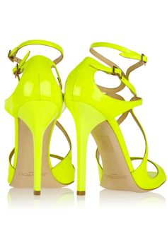 JIMMY CHOO 'Lance' neon patent leather sandals (were £611 / now £428)