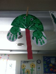 Handprint frogs from our Friendly Frog class