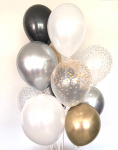 Silver and Gold Balloons Black and Gold Balloons Gold and Black And White Party Decorations, Silver Party Decorations, Engagement Party Decorations, Black And White Balloons, Gold Birthday Party, 65th Birthday, Gold Bridal Showers, Etsy, Party Games