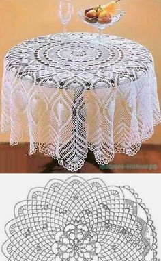 Large Round Tablecloth With Pineapples - Diy Crafts Crochet Tablecloth Pattern, Free Crochet Doily Patterns, Granny Square Crochet Pattern, Crochet Round, Crochet Chart, Filet Crochet, Knitting Patterns, Lace Doilies, Crochet Doilies