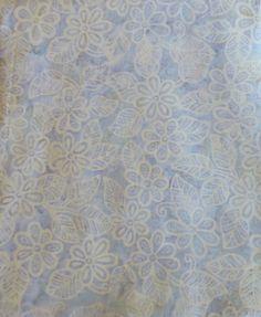 Batik Fabric, Batavian Batik, South Seas Imports, Blue/White,Flowers/Leaves,Quilting,Home Decor,Apparel,Decorating Batik Fabric