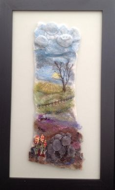 Sue Keen — Felt View across the Meadow Combination of wet and needle felting using wool and fabric, hand stitching and beading. Wool Embroidery, Wool Applique, Felted Wool Crafts, Felt Crafts, Felt Fabric, Fabric Art, Felt Pictures, Needle Felting Tutorials, Beading Needles