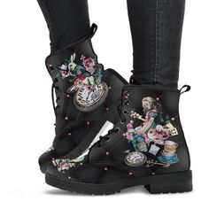 Hipster Boots, Black Hipster, Combat Boots Style, Black Combat Boots, Custom Design Shoes, Custom Shoes, Alice In Wonderland Gifts, Goth Boots, Boho Shoes