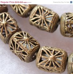 ON SALE Vintage African Brass Beads, Tribal Beads, African Trade Beads, Organic Beads