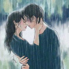 Couple art and rain