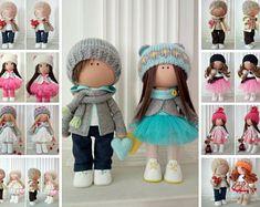 Couple of Textile Dolls Loving Hearts Love Winter Doll Baby Room Handmade Doll Poupée Cloth Rag Doll Green Nursery Fabric Tilda Doll Olga K