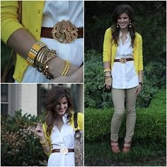 i need this yellow cardi/khaki pants combo!
