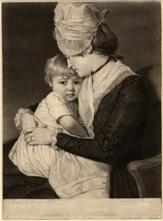 Mrs Carwardine, May 9, 1781. British Museum 1902,1011.4954  Love this cap.  And adorable mother-child image.