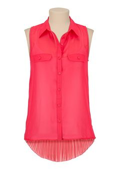 Sleeveless High-low Chiffon Blouse available at #Maurices