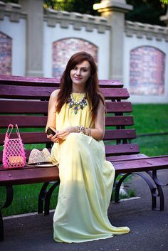 Discover this look wearing Light Yellow Maxi OASAP Dresses, Gold Statement OASAP Necklaces - Maxi lemon by Chaba styled for Comfortable, Everyday in the Summer Yellow Maxi Dress, Gold Dress, Spring Outfits, Fashion Online, Personal Style, My Style, Skirts, Model, How To Wear